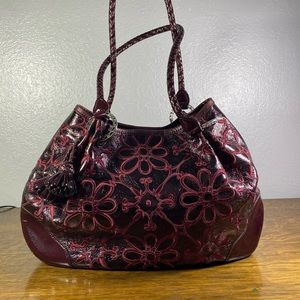 Brighton Valencia Merlot Embroidered Leather Purse